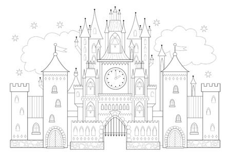 Fantasy drawing of medieval Gothic castle in Western Europe. Fairyland kingdom. Black and white page for coloring book. Worksheet for children and adults. Vector image.