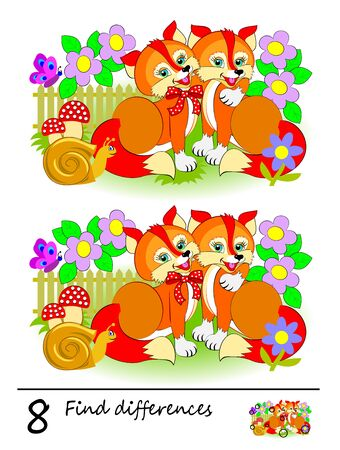Logic puzzle game for children. Need to find 8 differences. Printable page for kids brainteaser book. Illustration of couple cute foxes. Developing counting skills. IQ training test.