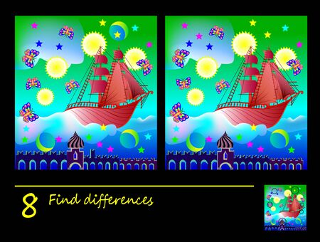 Logic puzzle game for children. Need to find 8 differences. Printable page for kids brainteaser book. Illustration of fairyland flying ship. Developing counting skills. IQ training test. Illusztráció