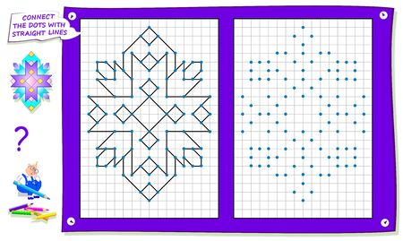 Logical puzzle game for kids on square paper. Repeat the image by example, connect the dots with straight lines and color the picture. Printable page for children brainteaser book. IQ training test. Ilustração