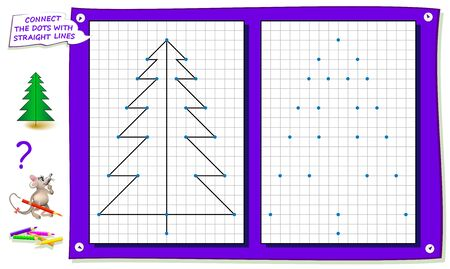 Logic puzzle game for kids on square paper. Repeat the image by example, connect the dots with straight lines and color the tree. Printable page for children brainteaser book. IQ training test. Ilustração