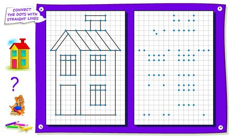 Repeat the image by example, connect the dots with straight lines and color the house. Logical puzzle game for kids on square paper. Printable page for children brainteaser book. IQ training test.