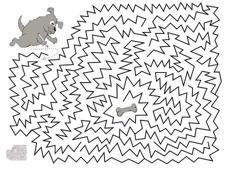 Logical puzzle game with labyrinth for children and adults. Help the dog find and draw the way till the bone. Printable worksheet for kids brainteaser book. Vector cartoon image. Ilustração