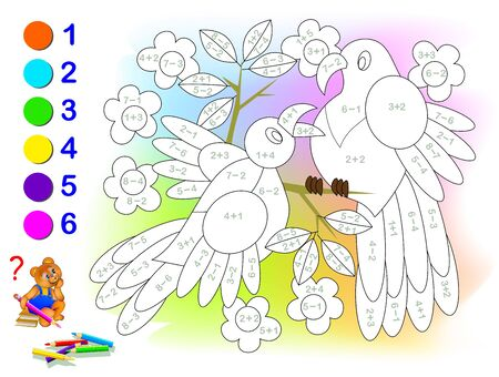 Educational page with exercises for children on addition and subtraction. Solve examples and paint the birds in relevant colors. Developing skills for counting. Printable worksheet for kids textbook.