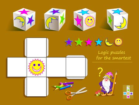 Logic puzzle game for smartest. Draw the signs in empty squares of template so they matches all the cubes. Printable page for brain teaser book. Developing spatial thinking skills. Vector cartoon image. Ilustração