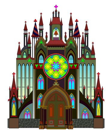 Gothic architectural style. Middle ages in Western Europe. Fantasy illustration of medieval cathedral on white background. Beautiful stained glass rose and windows. Modern print for travel company. Ilustração