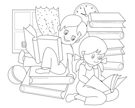Black and white page for baby coloring book. Drawing of little boy and girl reading the books and fairy tales. Printable template for kids. Worksheet for children textbook. Hand-drawn vector image.
