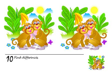 Logic puzzle game for children and adults. Need to find 10 differences. Printable page for kids brainteaser book. Illustration of cute monkeys in jungle. Developing counting skills. IQ training test.