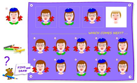 Logic puzzle game for children and adults. Which portrait of girl comes next? Find it and draw in white square. Worksheet for kids school textbook. Print for brainteaser book. IQ training test. Ilustração
