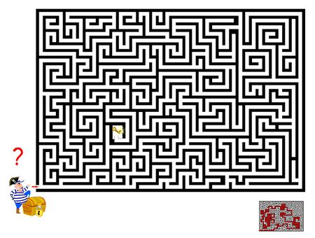 Logical puzzle game with labyrinth for children and adults. Help pirate find way till the key to open the chest. Printable worksheet for kids brainteaser book. IQ training test. Vector cartoon image.