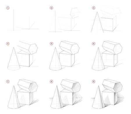 How to draw step-wise sketch of still life with geometric shapes. Creation step by step pencil drawing. Educational page. School textbook for developing artistic skills. Hand-drawn vector image. 写真素材 - 128951300