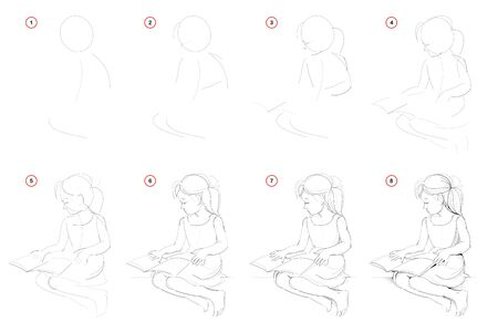 How to draw step-wise sketch of beautiful little girl reading the book. Creation step by step pencil drawing. Educational page. School textbook for developing artistic skills. Hand-drawn vector image. Illustration