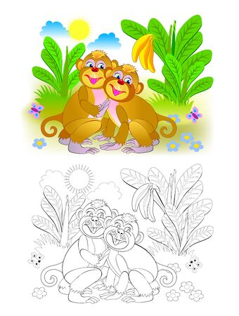Couple of cute monkeys in the jungle. Colorful and black and white page for coloring book for kids. Fantasy illustration of animals. Printable worksheet for children and adults. Vector cartoon image. Ilustração