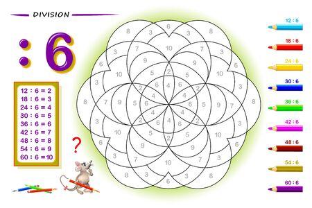 División por el número 8. Ejercicios de matemáticas para niños. Pinta el cuadro. Página educativa para libro de matemáticas. Hoja de trabajo imprimible para libros de texto para niños. De vuelta a la escuela. Prueba de entrenamiento de CI. Imagen vectorial.