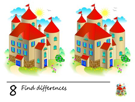 Find 8 differences. Logic puzzle game for children and adults. Printable page for kids brain teaser book. Illustration of medieval castle from fairy tale. Developing counting skills. IQ training test. Ilustração