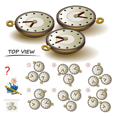 Logic puzzle game for children and adults. Need to find correct top view of watch. Printable page for brain teaser book. Developing spatial thinking skills. IQ training test. Vector cartoon image.