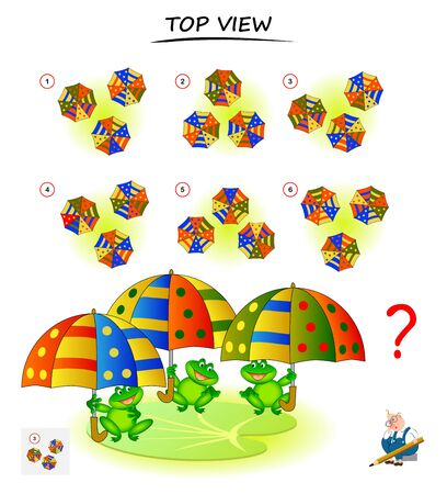 Logic puzzle game for children and adults. Need to find correct top view of umbrellas. Printable page for brain teaser book. Developing spatial thinking skills. IQ training test. Vector cartoon image.
