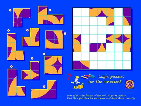 Logic puzzle game for children and adults. Part of tiles fell out of wall. Help the worker, find places and draw all of them. Page for brain teaser book. Developing spatial thinking skills. IQ test. Ilustração