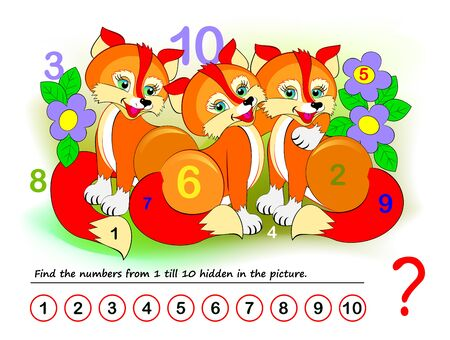 Logical puzzle game for kids. Math exercise for little children. Find hidden numbers from 1 till 10. Developing counting skills. IQ training test. Printable worksheet for textbook. Back to school. Ilustração