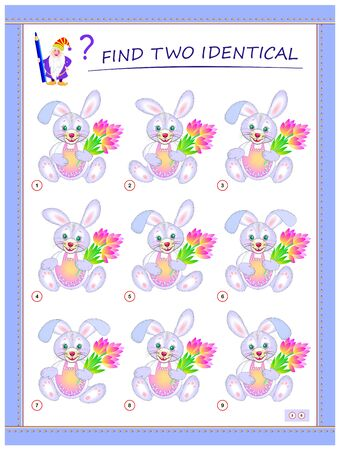 Logical puzzle game for little children. Need to find two identical rabbits. Educational page for kids. IQ training test. Printable worksheet for textbook. Back to school. Vector cartoon image.
