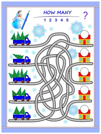 Logic puzzle game for children with labyrinth. Count quantity of Christmas trees in lorries and write the numbers on houses. Educational page for kids. Printable worksheet for math textbook. IQ test.