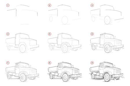 How to draw step-wise sketch of road cleaning watering machine. Creation step by step pencil drawing of car. Educational page for school textbook for developing artistic skills. Hand-drawn vector. Ilustração
