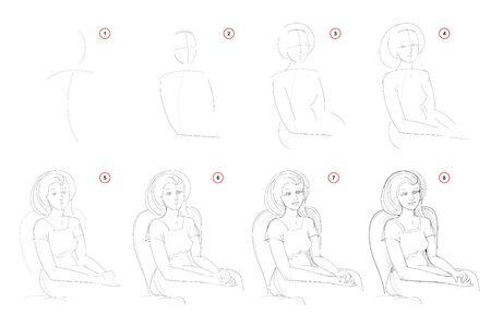 How to draw step-wise imaginary portrait of beautiful sitting woman. Creation step by step pencil drawing. Educational page. School textbook for developing artistic skills. Hand-drawn vector image.