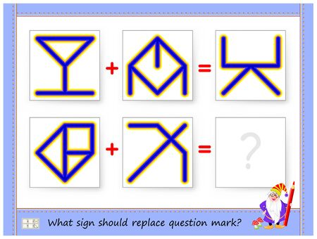 Mathematical logic puzzle game for children and adults. What sign should replace question mark? Draw him. Printable page for brain teaser book. Developing spatial thinking skills. IQ training test.