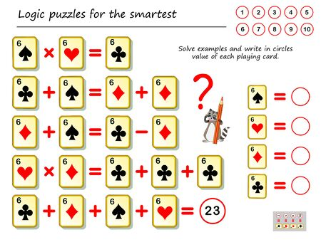 Mathematical logic puzzle game. Solve examples and count the value of each playing card. Write numbers in circles. Printable page for brain teaser book. Developing spatial thinking. IQ training test. Ilustração