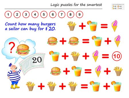 Mathematical logic puzzle game. Help the sailor to count how many burgers he can buy for $ 20. Printable page for brain teaser book. Solve examples on addition. IQ training test. Vector cartoon image.