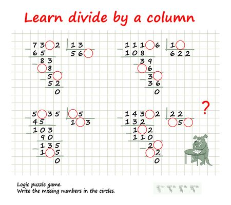 Learn divide by a column. Logic puzzle game for children and adults on division. Write missing numbers in circles. Education page. Mathematics brain teaser book. Printable worksheet for math textbook. Иллюстрация