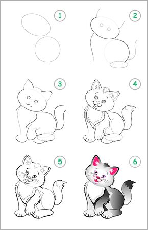 How to draw step by step a cute little kitten. Educational page for kids. Back to school. Developing children skills for drawing and coloring. Printable worksheet for baby book. Vector cartoon image.