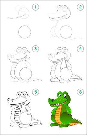 How to draw step by step a cute toy crocodile. Educational page for kids. Back to school. Developing children skills for drawing and coloring. Printable worksheet for baby book. Vector cartoon image.