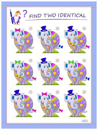 Logical puzzle game for little children. Need to find two identical elephants. Educational page for kids. IQ training test. Printable worksheet for textbook. Back to school. Vector cartoon image.