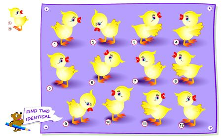 Logical puzzle game for little children. Need to find two identical chickens. Educational page for kids. IQ training test. Printable worksheet for textbook. Back to school. Vector cartoon image.