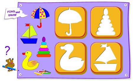 Logical puzzle game for baby coloring book. Find the place for each object and paint correctly. Worksheet for kids textbook. Back to school. Development children drawing skills. IQ training test. Ilustração