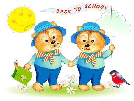 Illustration of two little bears going to school. Printable page for baby book. Cover for kids textbook. Back to school. Hand-drawn vector cartoon image on white background.