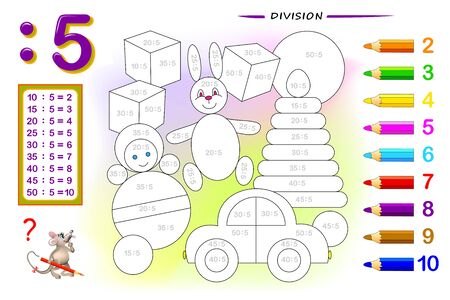 Division by number 5. Math exercises for kids. Paint the picture. Educational page for mathematics book. Printable worksheet for children textbook. Back to school. IQ training test. Vector image.