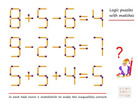 Logical puzzle game with matches. In each task move 1 matchstick to make the inequalities correct. Printable page for brain-teaser book. Developing spatial thinking. Vector image.