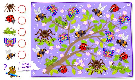 Math education for children textbook. Educational page for kids. Count the quantity of insects and write the numbers in circles. Worksheet for baby book. Logic puzzle game. Developing counting skills.