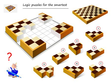 Logic puzzle game for smartest. Need to find correct place for each block and collect chess board. Printable page for brain teaser book. Developing spatial thinking. IQ training test. Vector image.