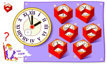 Logic puzzle game for kids. Need to find cube matching top view of clock. Worksheet for school textbook. Printable page for brain teaser book. Development of children spatial thinking skills. Illustration