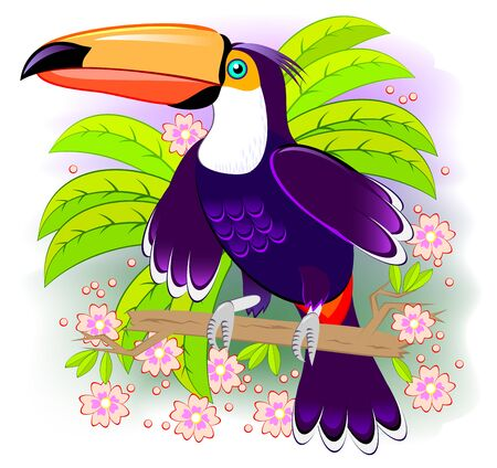 Toucan, exotic bird living the tropical rain-forest. Fantasy illustration kids. Cover for children fairy tale baby book. Abstract background for poster. Printable vector cartoon image. Flat style.  イラスト・ベクター素材