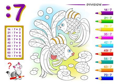 Division by number 7. Math exercises for kids. Paint the picture. Educational page for mathematics book. Printable worksheet for children textbook. Back to school. IQ training test. Vector image.