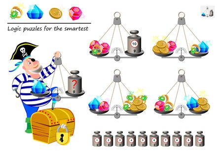 Mathematical logic puzzle game. Help the pirate calculate the weight of diamond. What weight must he put on weighing scales? Printable page for brain teaser book. Developing spatial thinking skills. 向量圖像
