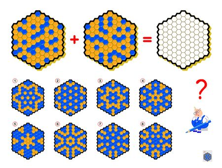 Mathematical logic puzzle game for children and adults. What sign should be in empty hexagon? Draw him. Printable page for brain teaser book. Developing spatial thinking skills. IQ training test.
