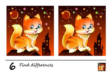 Find 6 differences. Logic puzzle game for children and adults. Printable page for kids brain teaser book at night. Image of cute kitten sitting on roof. Developing counting skills. IQ training test.