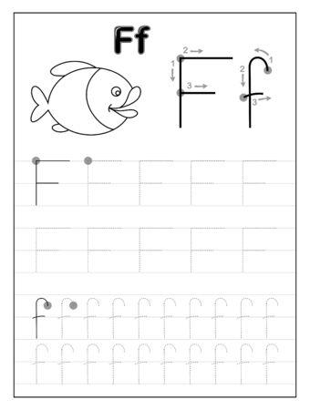 Traçage de la lettre de l'alphabet F. Pages éducatives en noir et blanc en ligne pour les enfants. Feuille de travail imprimable pour manuel pour enfants. Développer les compétences rédactionnelles. Vecteur pour livre de bébé. Retour à l'école.