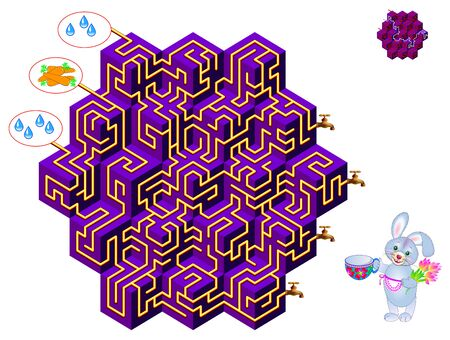 Logical puzzle game with labyrinth for children and adults. What tap will carrot juice flow from? Find the way. Printable worksheet for kids brain teaser book. IQ test. Vector cartoon image.