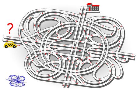 Logical puzzle game with labyrinth for children and adults. Help the taxi driver find the way to the hotel. Printable worksheet for kids brain teaser book. IQ test. Vector cartoon image. Vetores